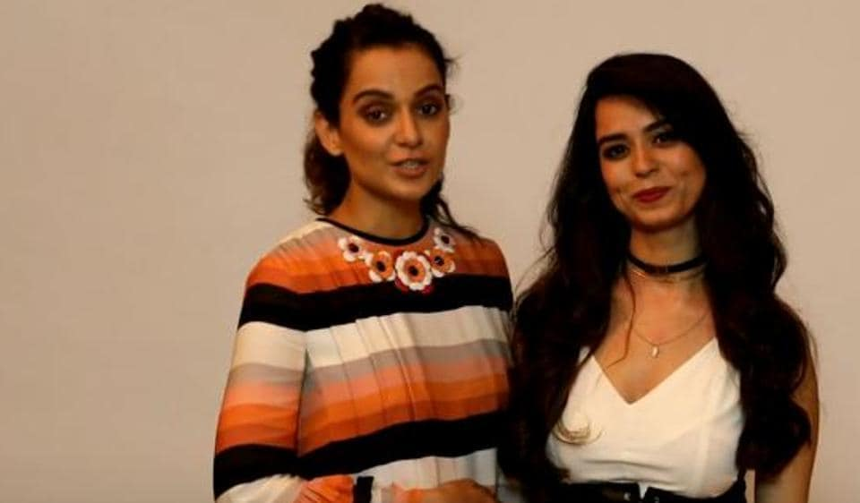 Kangana Ranaut poses with Soundarya Sharma at the song launch.