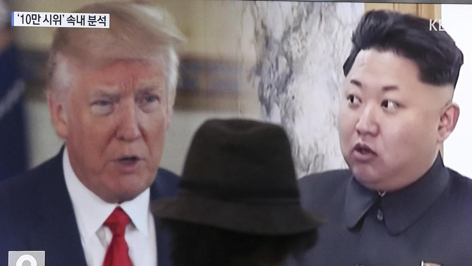 ATV screen shows US President Donald Trump and North Korean leader Kim Jong-un during a news programme in Seoul, South Korea, last month.