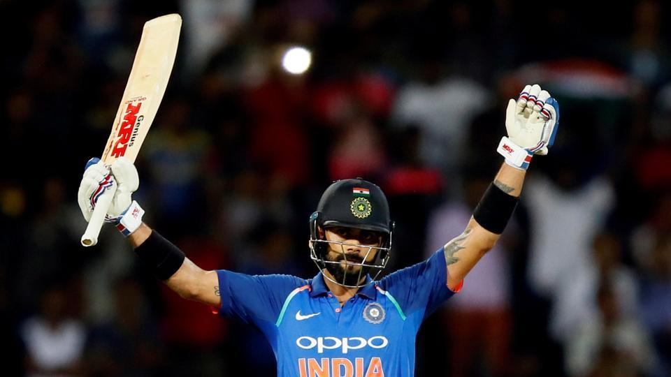 India captain Virat Kohli celebrates his century against Sri Lanka in Colombo on Sunday.