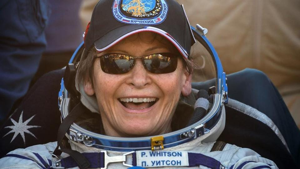 US astronaut Peggy Annette Whitson smiles after landing in a remote area outside the town of Dzhezkazgan, Kazakhstan.
