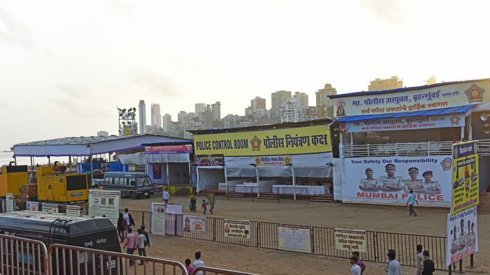Preparation for Ganpati visarjan at Girgaum Chowpatty in Mumbai.