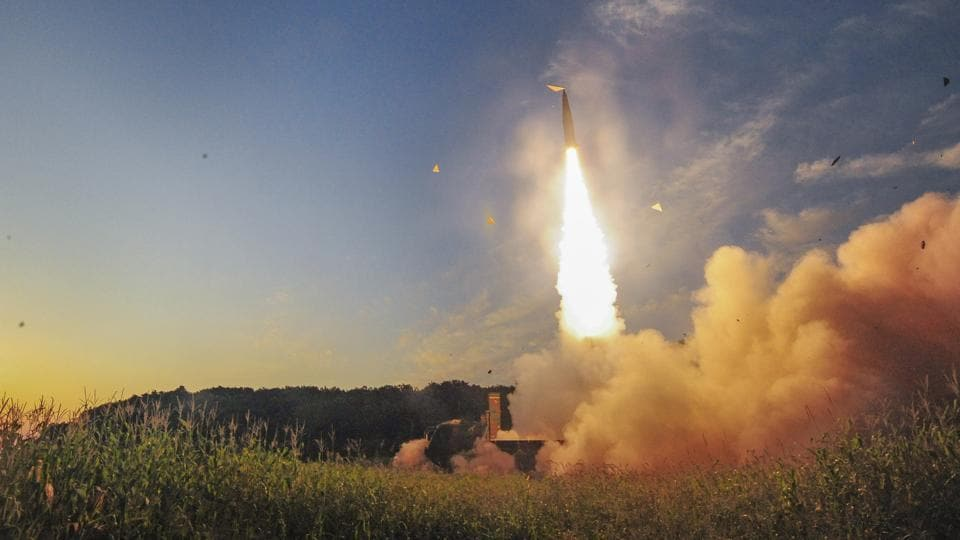 South Korea's Hyunmoo II ballistic missile being fired at an undisclosed location in South Korea, Monday.