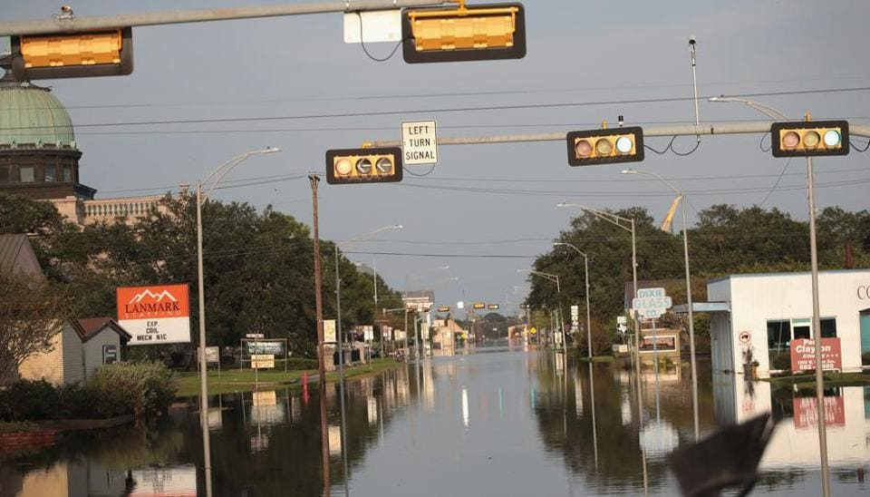 Floodwater covers the streets in Orange, Texas after torrential rains pounded the state following Hurricane Harvey.