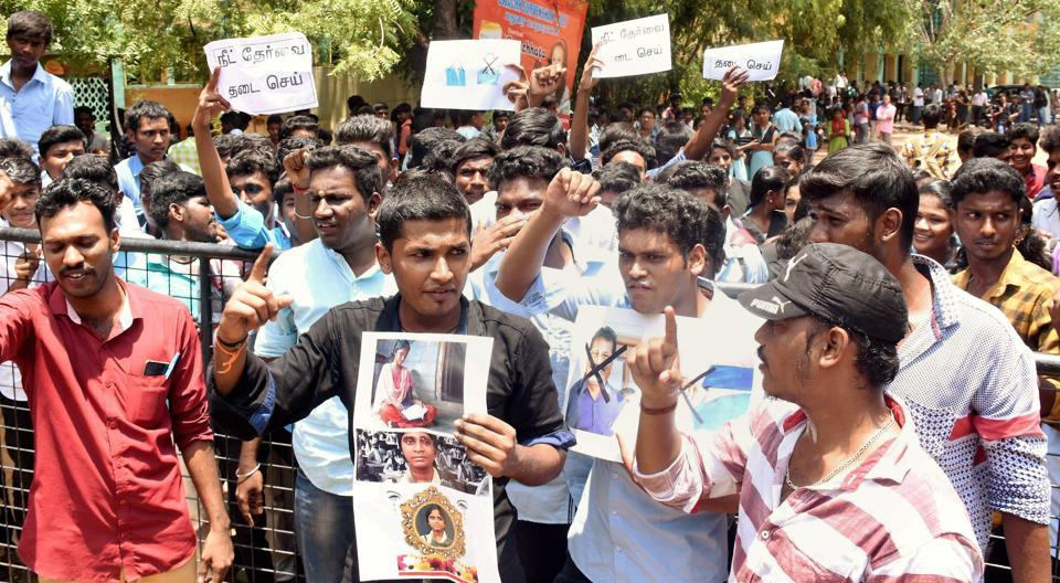 Members of the Student's Federation of India (SFI) raise slogans during a protest against the Centre following the death of Anitha in front of MKU college in Madurai, Tamil Nadu on Monday.