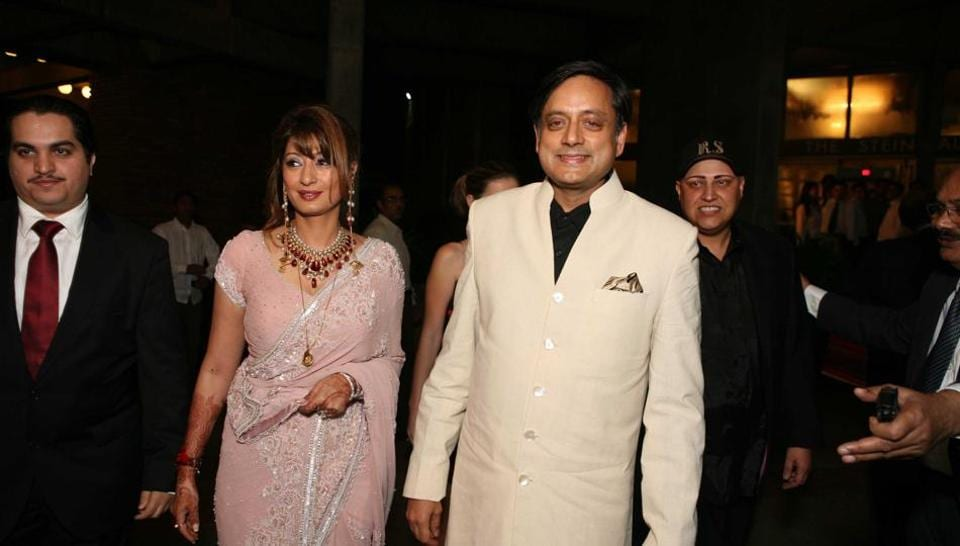 NEW DELHI, INDIA - SEPTEMBER 5: (File photo) Sunanda Pushkar Tharoor and Shashi Tharoor during their wedding reception at India Habitat Centre on September 5, 2010 in New Delhi, India.