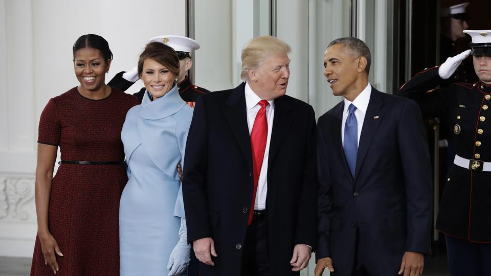 File photo shows then US President Barack Obama and first lady Michelle Obama posing with President-elect Donald Trump and his wife Melania at the White House in Washington.