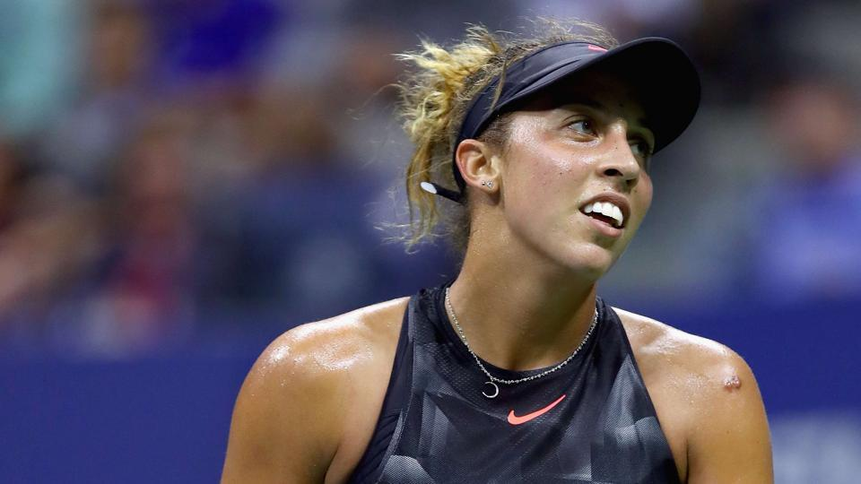 Madison Keys of the United States reacts against Elina Svitolina of Ukraine during their women's singles fourth round match at the 2017 US Open at the USTA Billie Jean King National Tennis Center on Monday in New York.