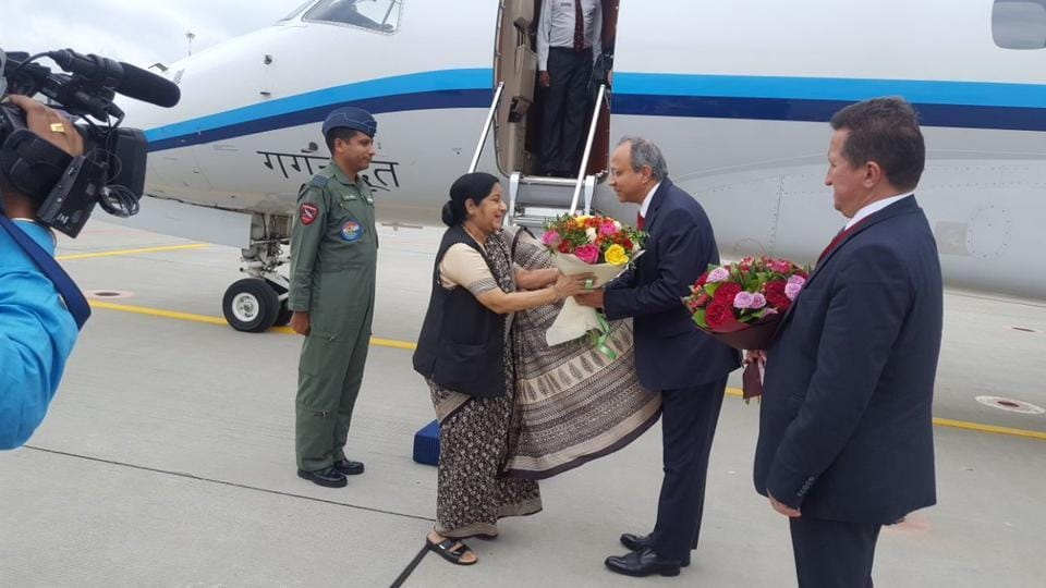 Swaraj is visiting Russia at the invitation of Deputy Prime Minister and Presidential Plenipotentiary Envoy to the Far Eastern Federal District Yury Trutnev.
