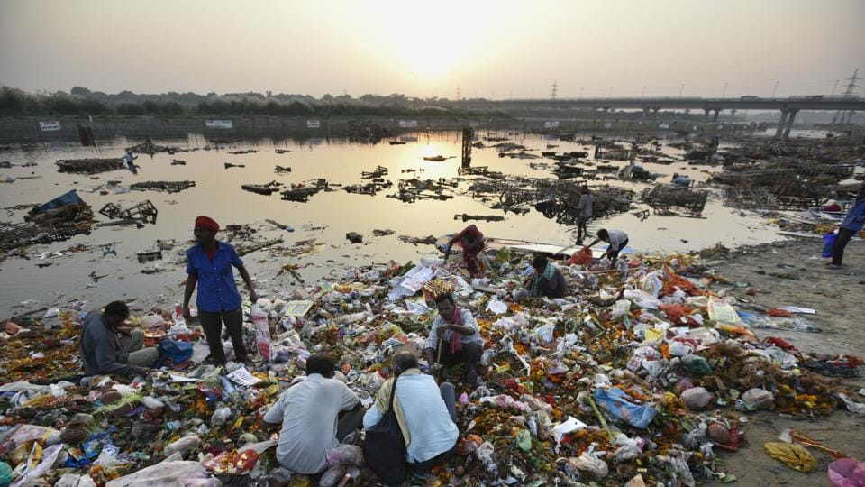 The polluted Yamuna River.
