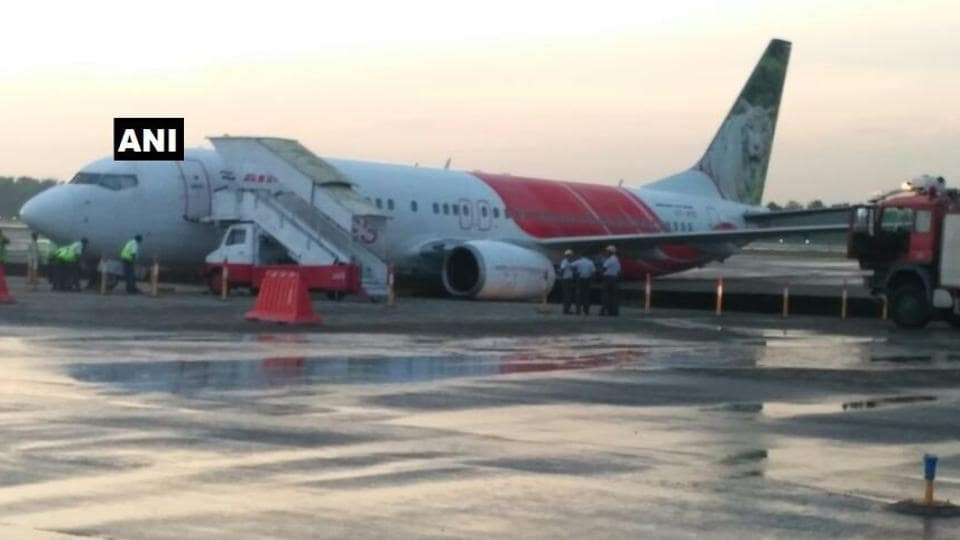 The Air India Express flight from Abu Dhabi veered off the taxiway in Kochi. (Photo: ANITwitter)