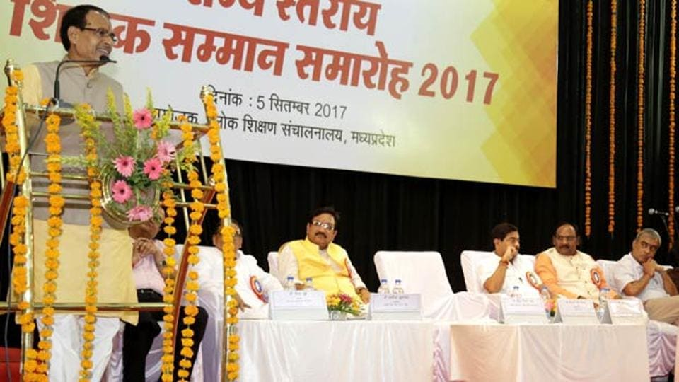 Chief Minister Shivraj Singh Chouhan with school education minister Vijay Shah in a programme organised to mark Teachers' Day in Bhopal.