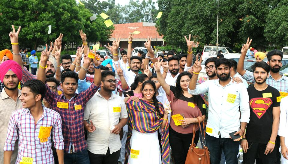 High on decibel: SOI members campaigning on the PU campus on Monday.