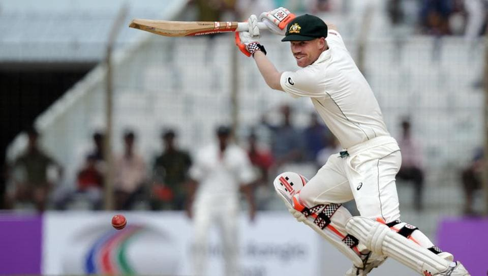 Australia opener David Warner in action against Bangladesh on Day 2 of the second Test at Chittagong. Get full cricket score of Bangladesh vs Australia, 2nd Test, day 2 here.