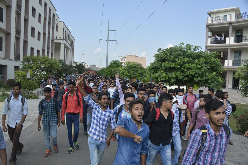 Students of RKGIT College in Ghaziabad staged a  protest after a Btech first year student died of health ailment.