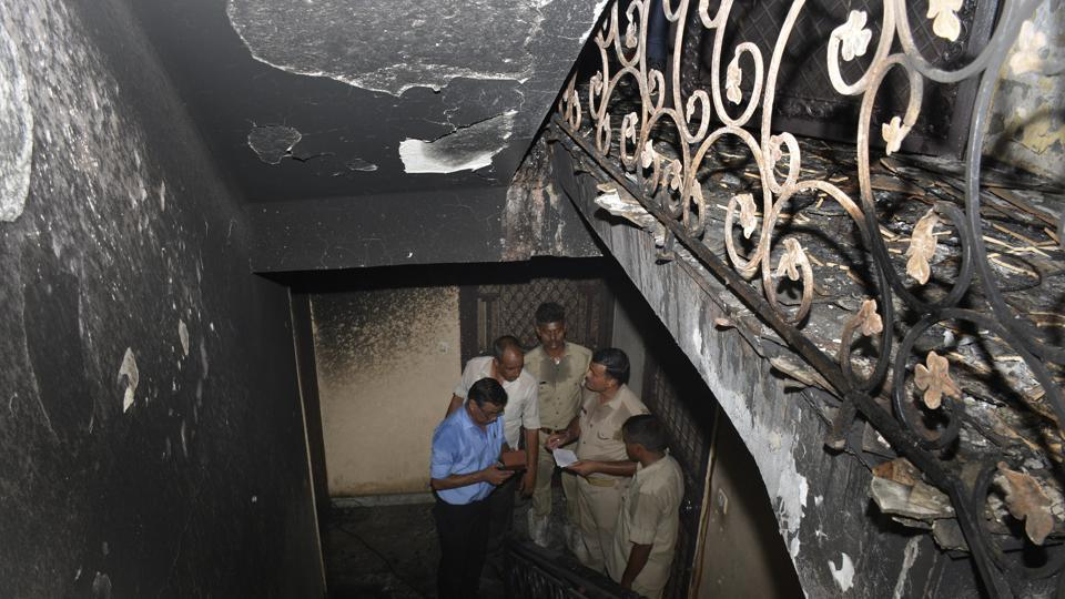Nearly two dozen residents were rescued after a fire broke out at residential building at Gyan Khand 1 inderapuram on Tuesday.