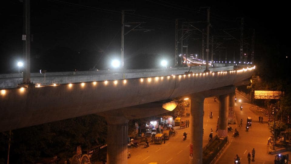 An overview of the illuminated Metro track ahead of its inauguration at Alambagh area in Lucknow.