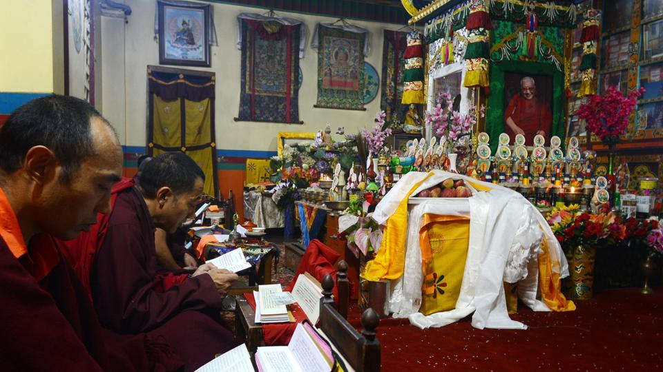 Away from the hustle bustle of Shimla, a mummified Buddhist teacher, Kyabje Taklung Tretrul Rinpochhe continues to inspire scores of Tibetan students at the quaint Thubthen Dorje Drak Monastery located 3 kms from the hill station. (Deepak Sansta / HT Photo)
