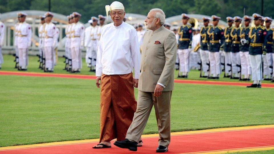 Prime Minister Narendra Modi inspects the guard of honour with the President of Myanmar, U Htin Kyaw, in Nay Pyi Taw, Myanmar on Tuesday.