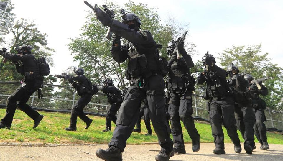 South Korea's Capital Defense Command soldiers take part in a military drill in Seoul, following North Korea's sixth nuclear test.