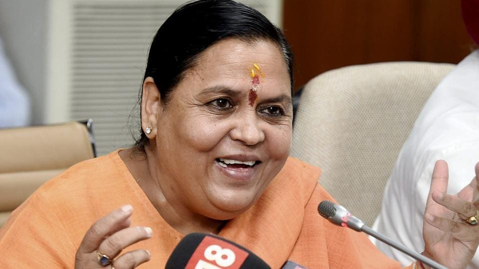 Union Minister for Drinking Water & Sanitation, Uma Bharti addressing a press conference in New Delhi on Tuesday.