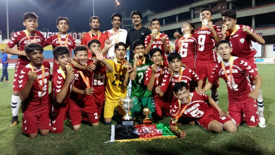 The victorious Istiqlal High School from Afghanistan after winning the U-14 Subroto Cup.