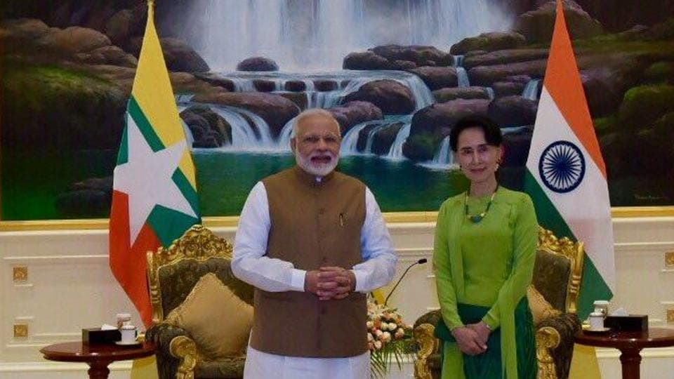 Prime Minister Narendra Modi with State Counsellor of Myanmar Aung San Suu Kyi  on September 6.