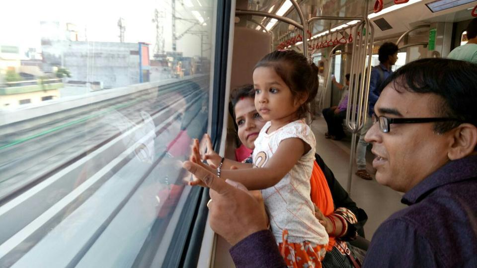 Metro services for the public opened today at 6am on the 8.5-km-long 'priority corridor' from Transport Nagar to Charbagh.  (Deepak Gupta / HT PHOTO)