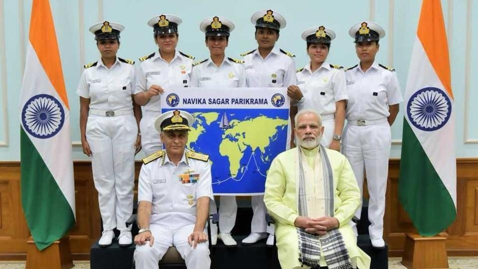 Prime Minister Narendra Modi with the six-member crew of the Navika Sagar Parikrama mission in New Delhi on August 16. The Indian Navy's all-women team plans to sail around the world in eight months.