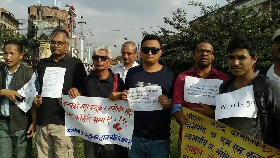 Nepalese journalists, writers and columnists at a protest against the killing of Indian journalist Gauri Lankesh in Kathmandu on Wednesday.