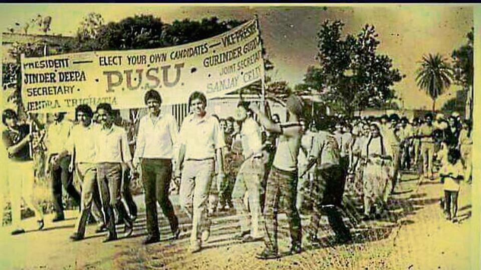 PUSU's then presidential candidate Rajinder Deepa (fifth from left) leading a rally on the Panjab University campus in 1982.