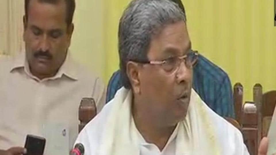 Karnataka chief ministerSiddaramaiah speaks to the media on Wednesday.