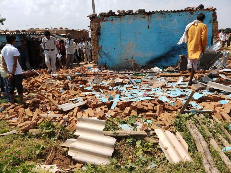 Explosion site in Damoh district where a two-year-old child was killed on Tuesday.