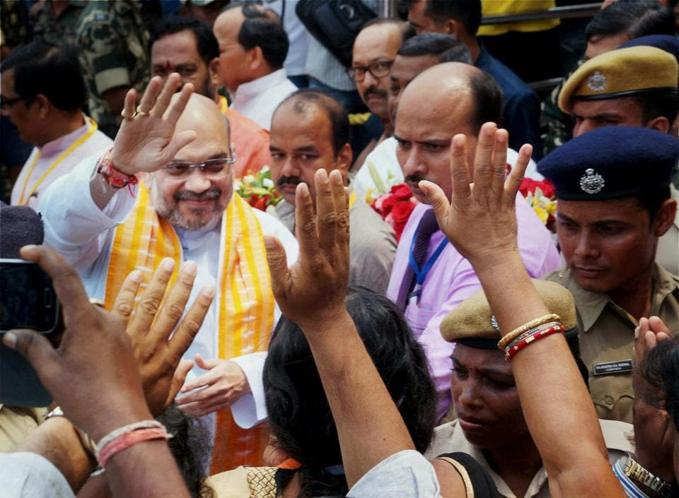 BJP President Amit Shah being welcomed by supporters on his arrival in Bhubaneswar to attend working executive body meeting, on Wednesday.