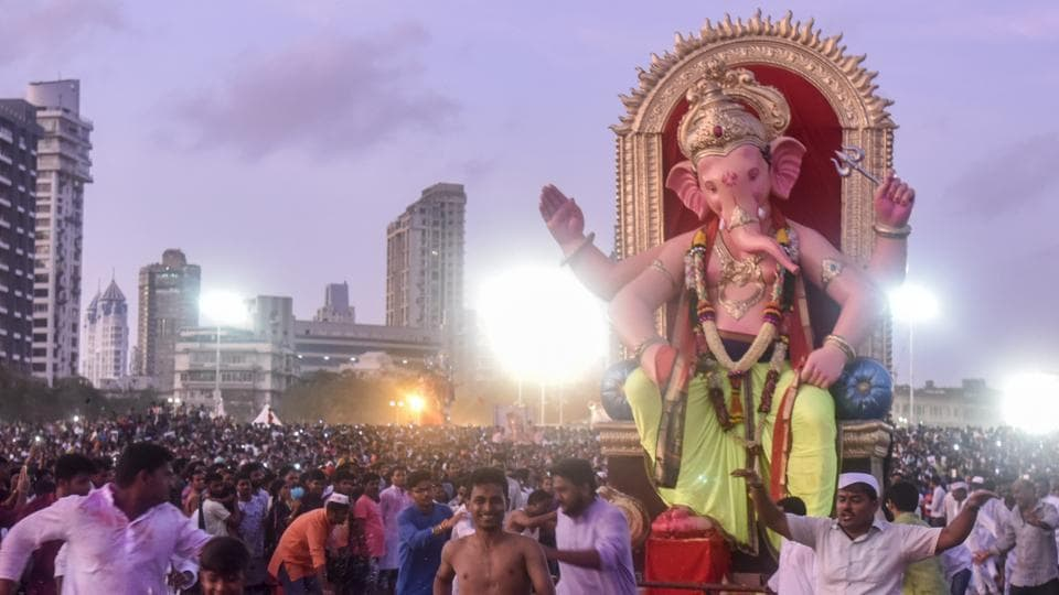 An idol being brought for immersion at Girgaum Chowpatty in Mumbai.