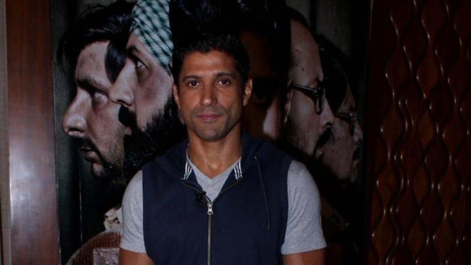 Actor Farhan Akhtar during the promotion of Lucknow Central in Mumbai.