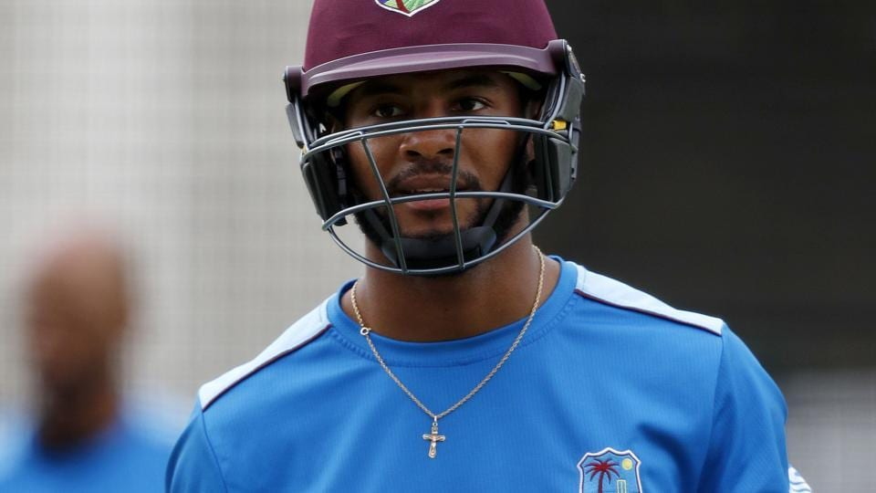West Indies cricket team's Shai Hope during a nets session at Lord's cricket ground on Tuesday, ahead of the third Test against England cricket team which begins on Thursday.