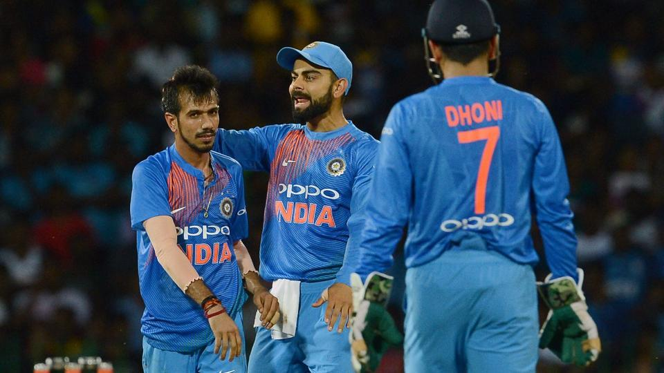 Yuzvendra Chahal (L) joined the party as Sri Lanka were three down in the first 10 overs.  (AFP)