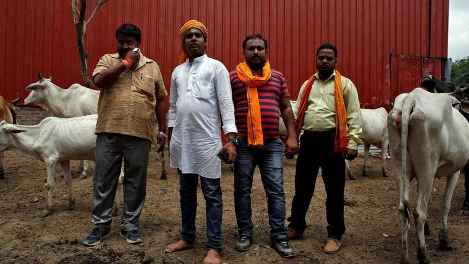 Members of a cow vigilante group in Agra. The Supreme Court has told the states to nominate a police officer in each district to check violence in the name of cow protection.