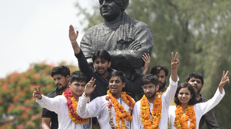 NSUI candidates Rocky Tussed, Kunal Sahrawat, Meenakshi Meena, and Avinash Yadav for the DUSU polls, in North Campus on Wednesday.