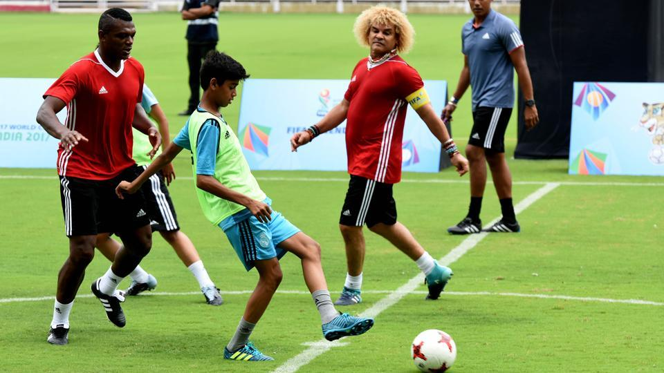 Carlos Valderrama during the unveiling of FIFA U-17 winners trophy ahead of FIFA U-17 World Cup at DY Patil Stadium in Navi Mumbai on Wednesday.