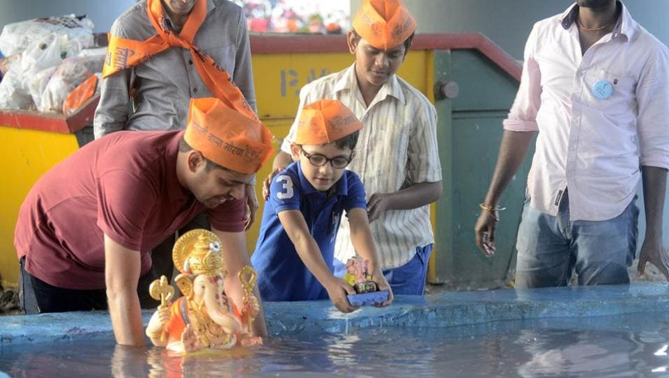 Around 2.19 lakh idols were immersed in artificial tanks as compared to 2.05 lakh last year.
