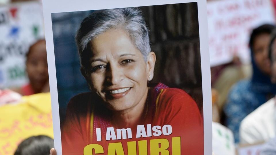 Protesters at a rally condemning the killing of journalist Gauri Lankesh in Bengaluru on September 6, 2017. Indian activists, politicians and journalists have demanded an investigation into the murder of Lankesh, a newspaper editor and outspoken critic of Hindu extremism whose death has sent shock waves across the country.