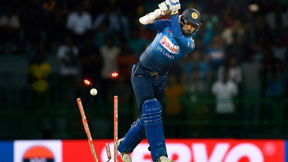 Upul Tharanga pulled Bhuvneshwar Kumar to midwicket for four, but the seamer got one to swing to have the left-handed batsman bowled.  (PTI)