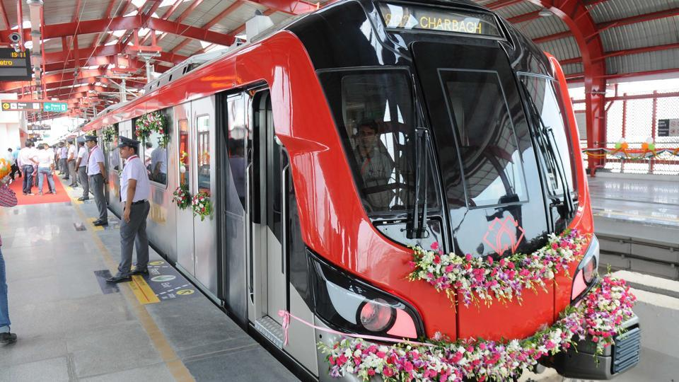 The city of Nawabs became the latest Indian metropolis to usher in a metro rail with Union home minister Rajnath Singh and chief minister Yogi Adityanath flagging off the Lucknow metro service on Tuesday. Former chief minister Akhilesh Yadav under whose government the Lucknow Metro project had started, skipped the function at the Transport Nagar station. (Subhankar Chakraborty/HT PHOTO)