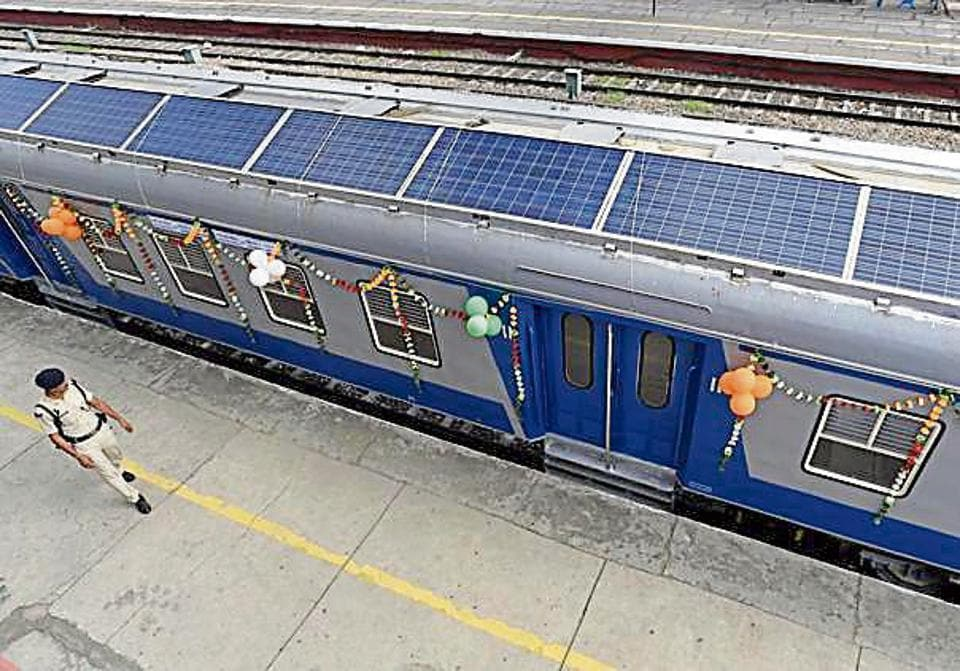 The first solar train was flagged off by then rail minister Suresh Prabhu at Safdarjung Railway station. Now, the railways has sought security for the solar panels.