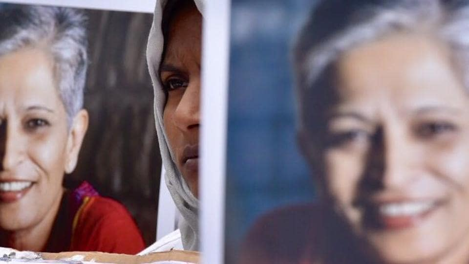 Gauri Lankesh, who was shot dead at her residence on Tuesday, was a vocal opponent of right-wing excess and was present at the forefront of  protests denouncing them  in Karnataka.  As a reaction to her death citizens and member of the journalistic fraternity gathered across various cities in a show of solidarity against the muzzling of voices of dissent. (Arijit Sen / HT Photo)