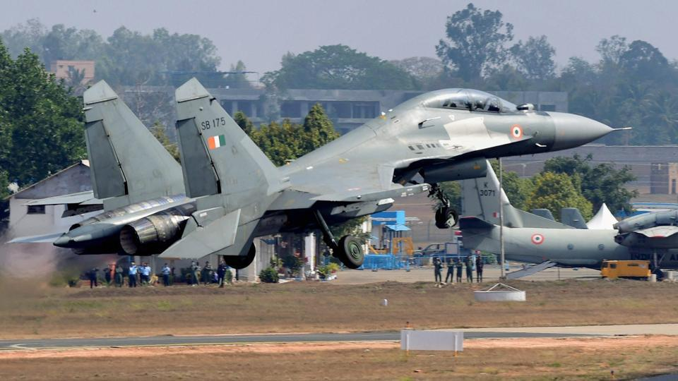 Indian Air Force's fighter aircraft Sukhoi takes off during the inauguration of the 11th biennial edition of AERO INDIA 2017 at Yelahanka Air base in Bengaluru.