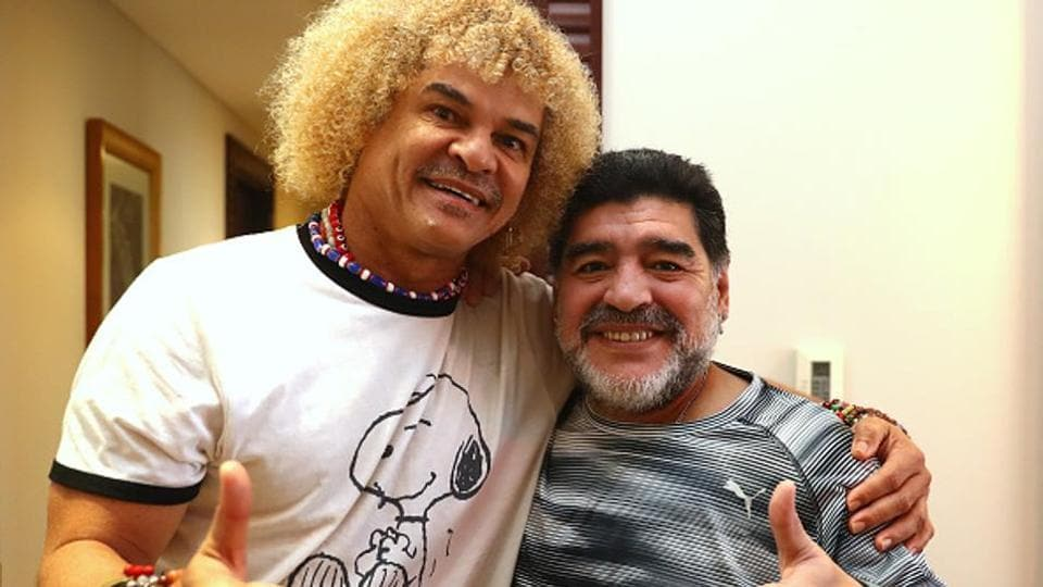 Football Legend Carlos Valderrama and Diego Maradona posing together at Manama, Bahrain.