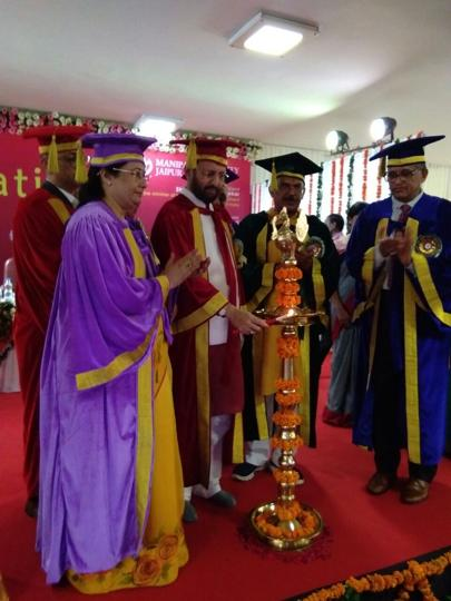 Union minister for human resourse development Prakash Javadekar  lighting the inaugural lamp at the 4th convocation of Manipal University in Jaipur on Thursday.
