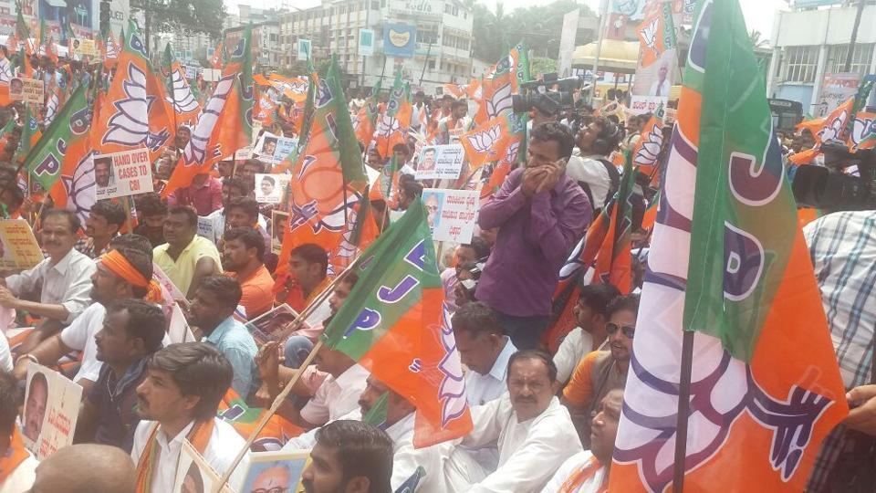 BJPleaders hold protest march in Mangaluru on Thursday.